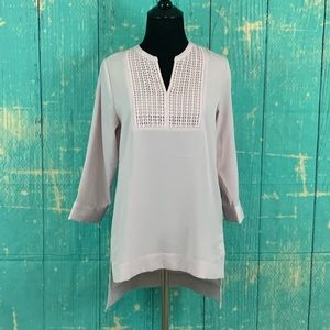 The Limited 3/4 Sleeve Lavender Embroidered Tunic